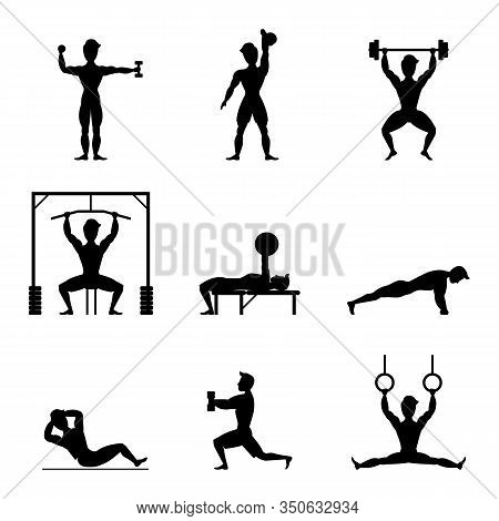 Cartoon Silhouette Black Characters Muscular Man Icon Set Active Sport Concept Element Flat Design S