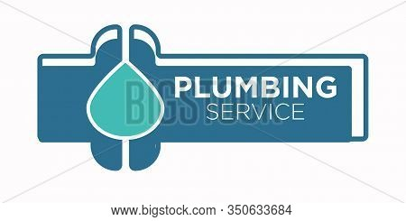 Plumbing Service Logo With Pipe And Water Leakage Drop