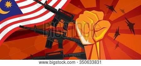 Malaysia War Propaganda Hand Fist Strike With Arm Weapon Plane And Flag. Vintage Red Symbol Of Aggre