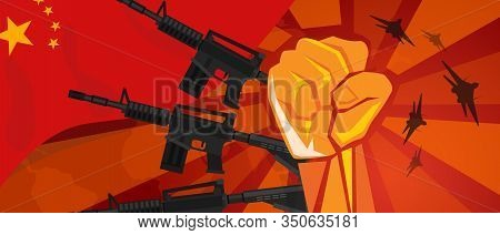 China Retro Style Of War Propaganda Hand Fist Strike With Arm Plane And Flag. Vintage Red Symbol Of