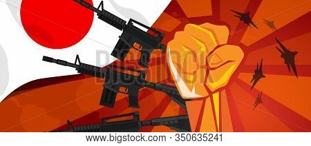 Japan Retro Style Of War Propaganda Hand Fist Strike With Arm Plane And Flag. Vintage Red Symbol Of