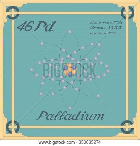 Periodic Table Element. Palladium Colorful Icon. Vector.