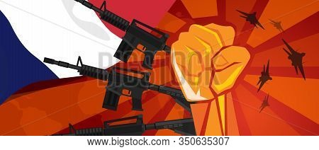 France War Propaganda Hand Fist Strike With Arm Plane And Flag. Vintage Red Symbol Of Aggression And