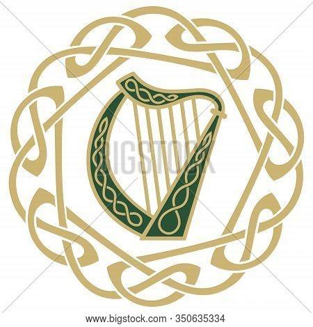 Ireland Harp Musical Instrument, Illustration On The Theme Of St. Patricks Day Celebration