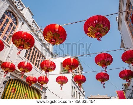 Chinese Lanterns In Paifeng Street Old Town In Chaozhou City China.ancient City Of Old Town In Chaoz