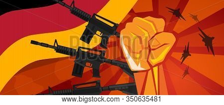 Germany Retro Style Of War Propaganda Hand Fist Strike With Arm Plane And Flag. Vintage Red Symbol O