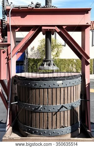 LOS ANGELES, CALIFORNIA - 12 FEB 2020: Wine Press at the The San Antonio Winery Tasting room, in the Lincoln Heights district of the city, in operation since 1917.