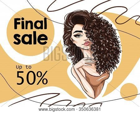 Beautiful Woman With Curl Hairdo Banner Art