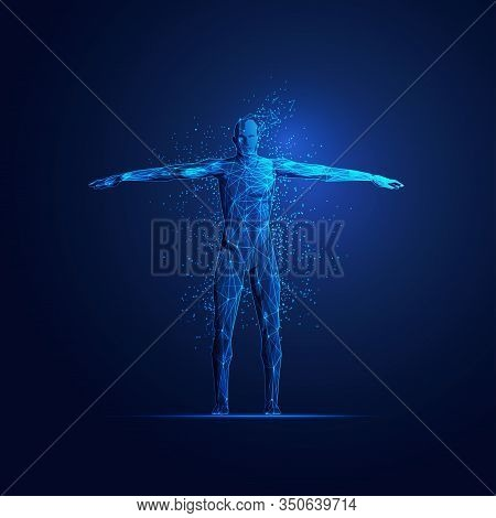 Concept Of Digital Transformation, Figure Of A Man In Scientific Technology Theme With Futuristic El