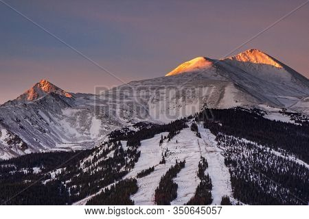 The Ski Slopes Of Breckenridge Colorado At Sunrise. The Scenic Beauty Of Colorado