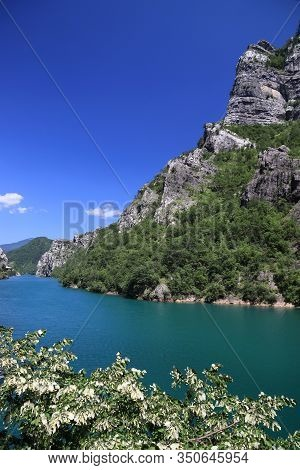 Bosnia And Herzegovina Landscape. Neretva River And Mountains.