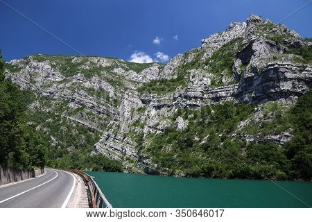 Bosnia And Herzegovina Landscape. Road Along Neretva River.