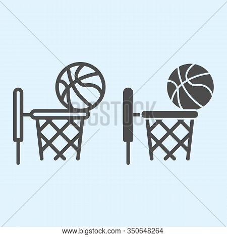 Basketball Line And Solid Icon. Streetball And Basket With Ball. Sport Vector Design Concept, Outlin