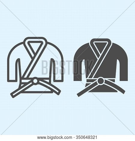 Kimono Line And Solid Icon. Asian Martial Art Costume, Judo And Karate Or Other Suit With Belt. Spor