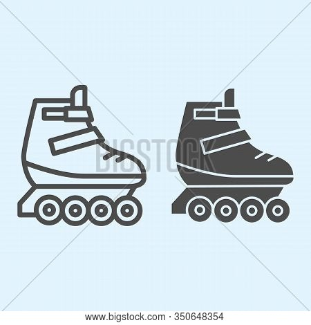 Rollers Line And Solid Icon. Skates Roller Shoes. Sport Vector Design Concept, Outline Style Pictogr