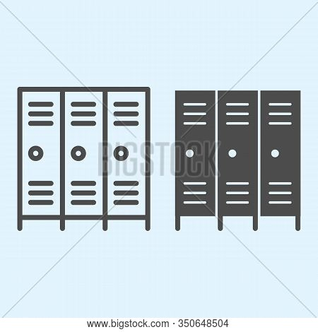 School Safe Lockers Line And Solid Icon. Locker Or Cabinet For School Closet, Gym, Stadium. Sport Ve