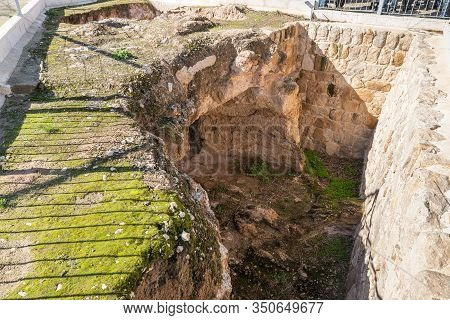 Jerusalem, Israel, January 25, 2020 : Dwelling Cavefrom The Second Temple Period On The Territory Of