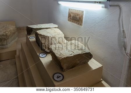 Jerusalem, Israel, January 25, 2020 : Stones With Words Engraved On Them In Paleo-hebrew Inscription
