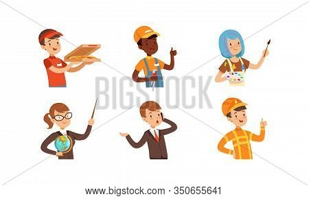 Children Of Different Professions Set, Cute Boys And Girls Characters, Pizza Courier, Handyman, Arti