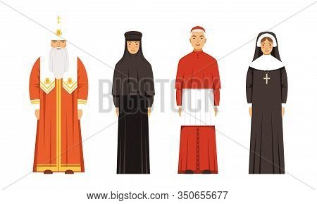 Religion People Characters In Traditional Clothes Collection, Orthodox Patriarch, Catholic Cardinal