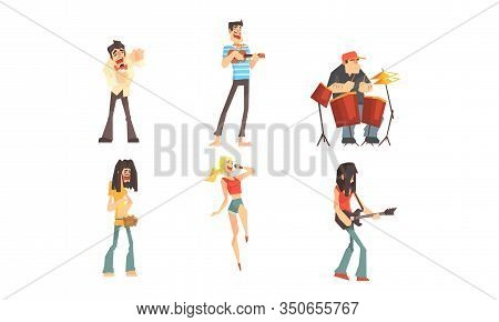 Musicians People Characters Collection, Musicians And Singers Of Different Genres Playing On Music I