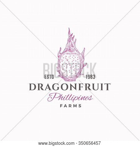 Dragon Fruit Farms Abstract Vector Sign, Symbol Or Logo Template. Hand Drawn Sketch Dragonfruit With