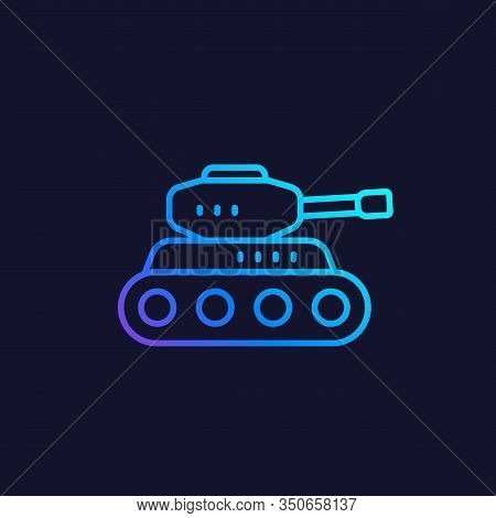 Battle Tank Vector Line Icon, Eps 10 File, Easy To Edit