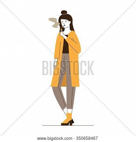Female Smoker Lighting Cigarette. Smoking Young Woman Flat Vector Illustration. Addiction, Problem,