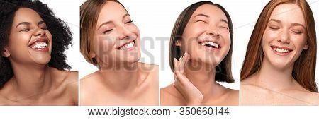 Collage Of Portraits Of Delighted Diverse Young Models With Perfect Skin Laughing With Closed Eyes W