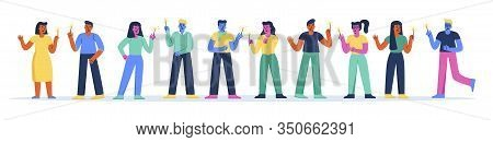 Horizontal Banner With Funny People With Sparklers Having Fun At Festive Party Or Festival. Collecti