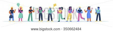 Horizontal Banner With Happy Kindergarten Children Playing With Toys. Bundle Of Funny Primary Or Ele