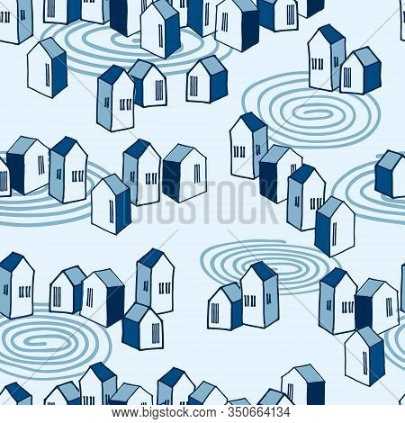 Isometric Seamless Pattern, Urban Landscape Theme In Blue Color Palette, Suburban Settlement, For Su