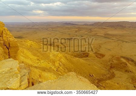 Sunset View Of Makhtesh (crater) Ramon, In The Negev Desert, Southern Israel. It Is A Geological Lan