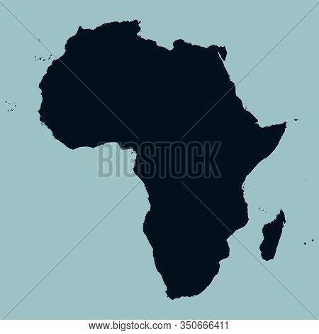 Map Of The Continent Of Africa With Islands And Madagascar. Silhouette On A Blue Background. Equator