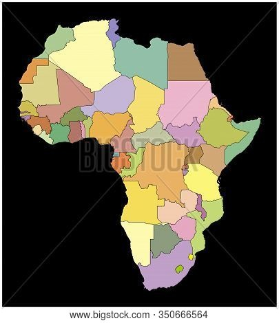 Color Image Of The Continent Of Africa On A Black Background. Colored Silhouette With Country Border