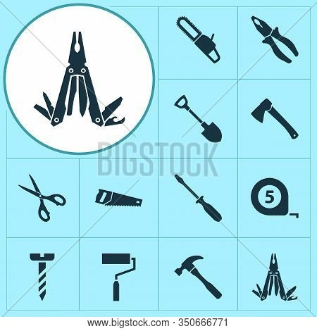 Handtools Icons Set With Pliers, Bolt, Shovel And Other Turn-screw Elements. Isolated Illustration H