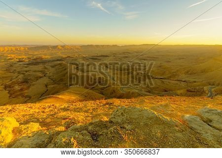 Sunset View Of Hamakhtesh Hagadol (the Big Crater), In The Negev Desert, Southern Israel. It Is A Ge