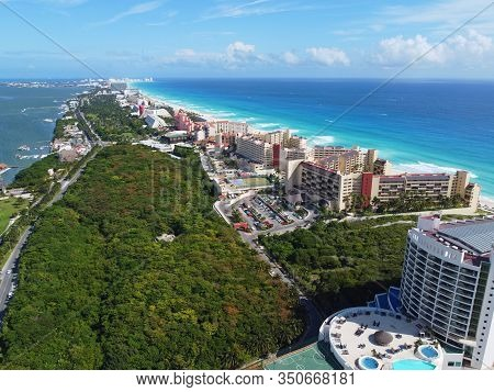 Cancun beach and Seadust Cancun Family Resort, The Royal Islander Resort aerial view, Cancun, Quintana Roo QR, Mexico.