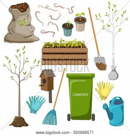 Vector Garden Tools Icon Set Isolated On White Background. Garden Items Collection For Spring Or Sum