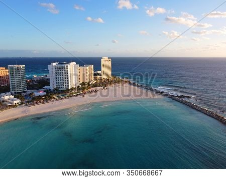 Cancun beach and Altitude by Krystal Grand Punta Cancun, Hyatt Ziva Cancun aerial view in the morning, Cancun, Quintana Roo QR, Mexico.