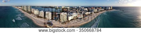Cancun beach Hard Rock Cafe, Forum By The Sea mall, Altitude by Krystal Grand Punta Cancun, Hyatt Ziva Cancun panorama aerial view, Cancun, Quintana Roo QR, Mexico.