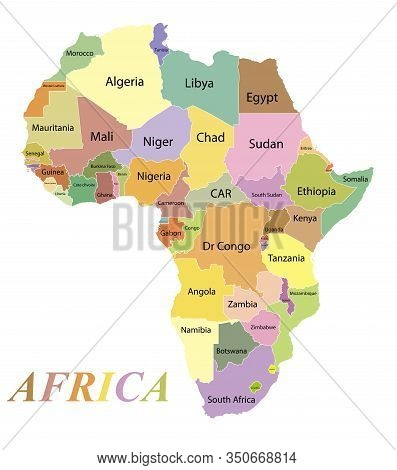 Map Of The Continent Of Africa. Color Silhouette With Borders And Country Names. Equatorial Guinea A