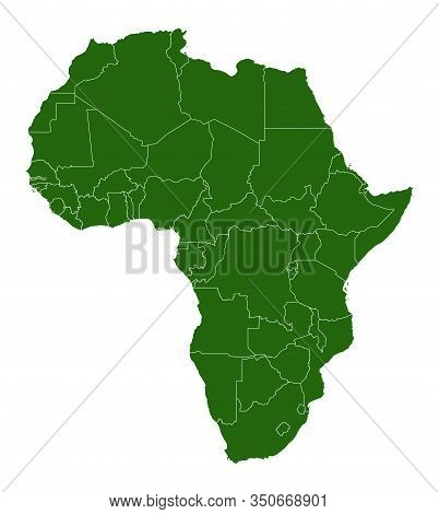 Map Of The Continent Of Africa. Green Silhouette With Country Borders. White Background With Country