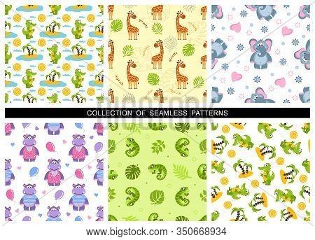 Set Of Childrens Seamless Patterns. Zoo Theme For Kids. Cute Giraffe, Hippo, Elephant, Crocodile, Ig