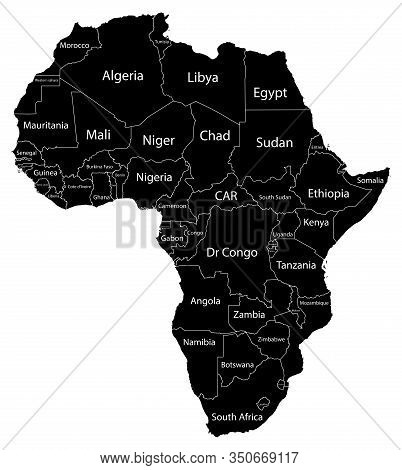Map Of The Continent Of Africa. Black Silhouette On A White Background With Borders And Country Name