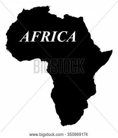 Contour Map Of Africa With The Name Of The Continent. Black Silhouette On A White Background. Gabon