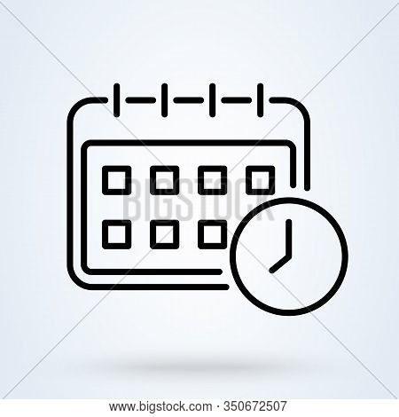 Calendar Icon Vector In Line Style. Events Planning, Schedule Symbols. Appointment Date, Deadline Co