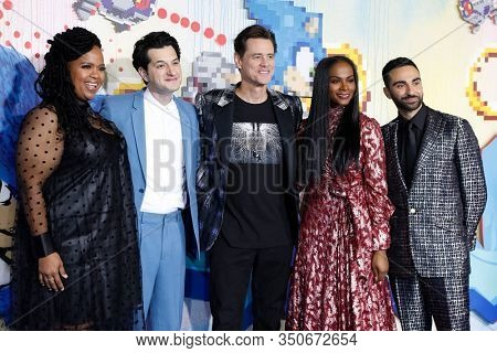 LOS ANGELES - JAN 12: Natasha Rothwell, Ben Schwartz, Jim Carrey, Tika Sumpter, Lee Majdoub at the Sonic The Hedgehog Screening at the Regency Village Theater on February 12, 2020 in Los Angeles, CA