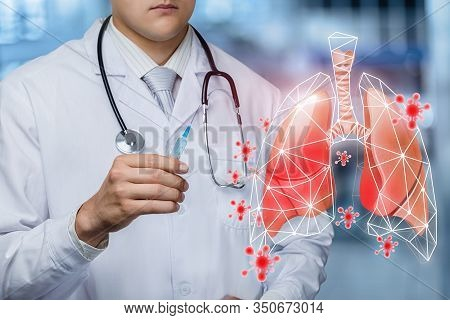 The Concept Of Vaccination For Viral Lung Disease.doctor Holds A Syringe With Medicine And The Patie