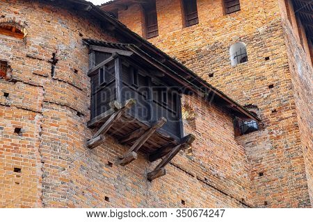 Medieval Castle Wall With Wooden External Embrasure.